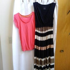 Maternity Liz Lange Maxi Dress Sleeveless & Tshirt